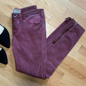 Free People Burgundy Coated Moto Skinny Jeans B6